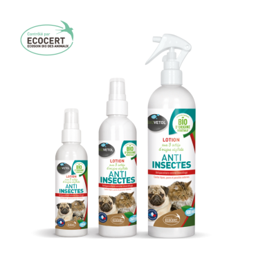 lotion anti insectes pour chien et chat biovétol