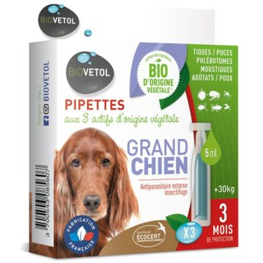 pipettes insectifuges bio pour grand chien biovetol