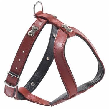 Harnais pour chien et chiot en cuir bobby harnais 106 extra souple-os-rouge-370x370