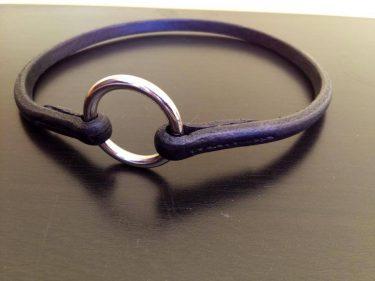collier cuir rond noir